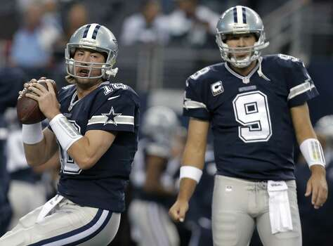 The Cowboys' playoff hopes rest with backup QB Kyle Orton (left) after Tony Romo had back surgery Friday. Owner Jerry Jones expects Romo to return in May for offseason practices, while coach Jason Garrett said there's no return date set. Photo: File: Brandon Wade / Associated Press / FR168019 AP