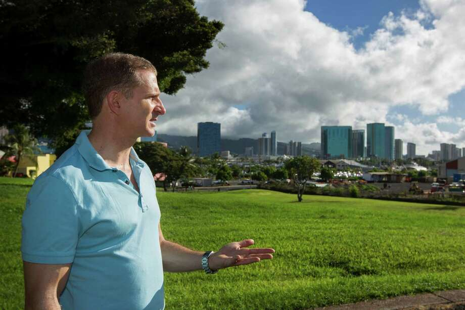 Robert Perkinson, an associate professor at the University of Hawaii at Manoa, talks about the possible location in the Kakaako district of Honolulu to be considered for the Barack Obama Presidential Library. Photo: Eugene Tanner, FRE / FR168001 AP