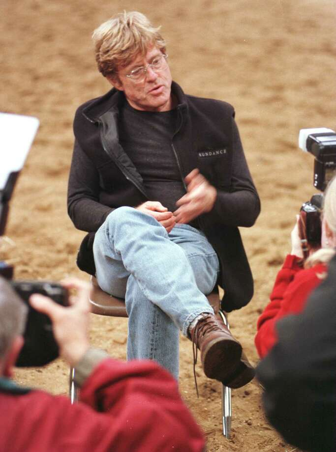 Times Union photo by SKIP DICKSTEIN -- APRIL 14, 1997 -- BALLSTON SPA NY -- ROBERT REDFORD TAKES A MOMENT FROM THE SET OF 'THE HORSE WHISPERER' TO SPEAK TO THE PRESS. ORG XMIT: MER2013121712071403 Photo: SKIP DICKSTEIN / ALBANY TIMES UNION
