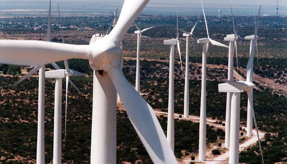 Sleek white wind turbines, 25 stories tall, rise from the plains of West Texas in Big Spring. Texas is one of the windiest states in the nation, and the Panhandle and West Texas are the state's windiest regions. Photo: CAROLYN MARY BAUMAN, STF / FORT WORTH STAR-TELEGRAM