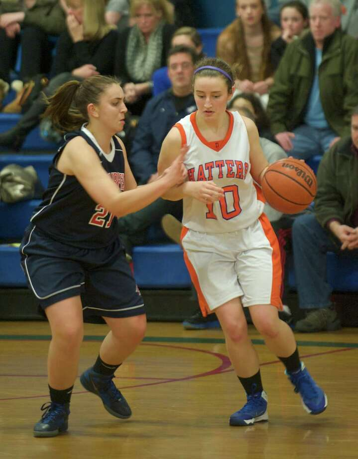 Game action from the News-Times Greater Danbury Tip Off Classic girls basketball tournament consolation game between New Milford High School and Bristol Eastern High School, played at the Danbury War Memorial, Danbury, Conn, on Saturday, December 28, 2013. Photo: H John Voorhees III / The News-Times Freelance