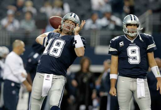 FILE - In this Nov. 28, 2013, file photo, Dallas Cowboys quarterbacks Kyle Orton (18) warms up as and Tony Romo (9) looks on before an NFL football game in Arlington, Texas. Coach Jason Garrett said Romo had back surgery on Friday, Dec. 27, 2013, and that Orton will start when Dallas faces Philadelphia on Sunday night with the NFC East title and a postseason berth on the line.(AP Photo/Brandon Wade, File) Photo: Associated Press / FR168019 AP