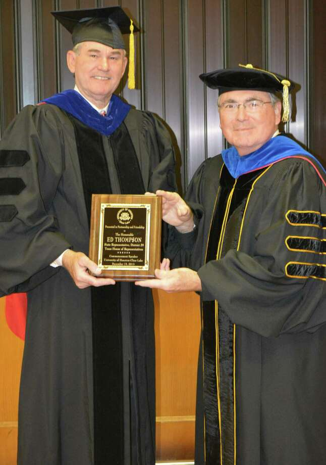 The University of Houston-Clear Lake recently hosted a commencement ceremony for the School of Education and School of Business. Keynote speaker State Rep. Ed Thompson, left, is shown at the ceremony with UHCL president William A. Staples. Photo: University Of Houston-Clear Lake