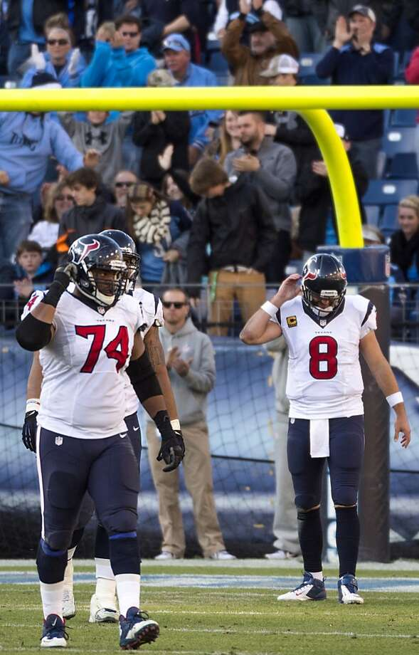 Texans quarterback Matt Schaub (8) reacts after throwing an interception with just over a minute left to play. Photo: Smiley N. Pool, Houston Chronicle