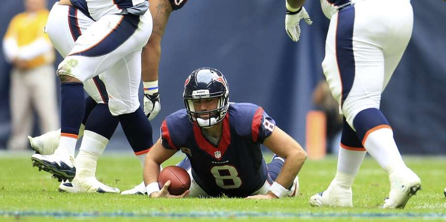 Week 16 vs. BroncosSchaub gets up from the turf after a sack during the second quarter. Schaub passed for 176 yards, one touchdown and two interceptions in the 37-13 loss. Photo: Karen Warren, Houston Chronicle