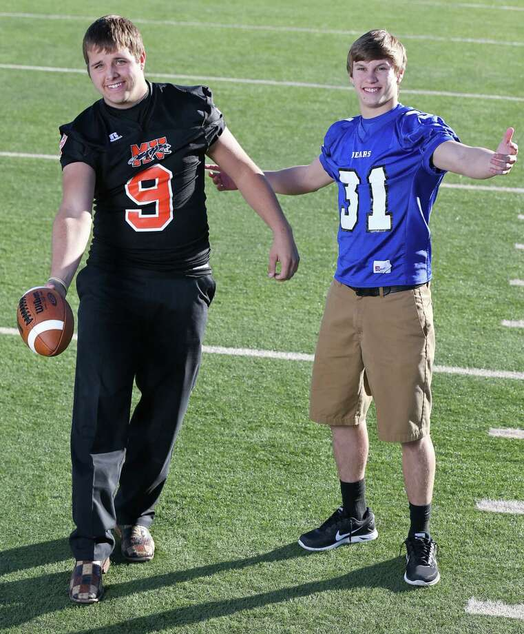 From left: Zach Sinor of Medina Valley and Levi Andrews of La Vernia. Not pictured: Clayton Hatfield of Boerne Champion and Justin Twine of Falls City. Click the link below to see the rest of the First Team. Photo: Edward A. Ornelas, San Antonio Express-News / © 2013 San Antonio Express-News