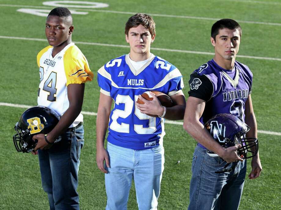 From left: Jaelan Collier of Brennan, Mitch Abramson of Alamo Heights and Jay Leal of Navarro. Click the link below to see the rest of the First Team. Photo: Edward A. Ornelas, San Antonio Express-News / © 2013 San Antonio Express-News