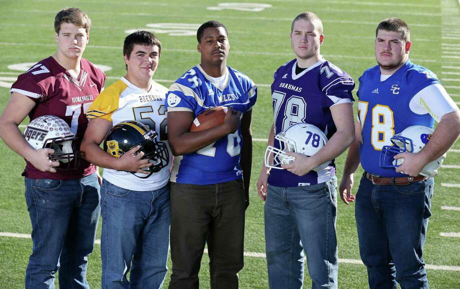 From left: Luke Clements of Floresville, Daniel Vidaurri of Brennan, Ronnie Rogers of Alamo Heights, Zach Pfeil of Stockdale and Will Windham of Clemens. Click the link below to see the rest of the First Team. Photo: Edward A. Ornelas, San Antonio Express-News / © 2013 San Antonio Express-News