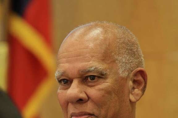 (For the Chronicle/Gary Fountain, December 12, 2013) HISD trustee Larry Marshall during his last board meeting.