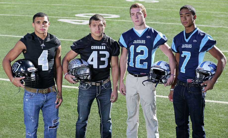 From left: Justin Stockton of Steele, Branden Valle of Clark, Hunter Rittimann of Johnson and Darion McElhannon of Johnson.  Not pictured: Ty Summers of Reagan. Click the link below to see the rest of the First Team. Photo: Edward A. Ornelas, San Antonio Express-News / © 2013 San Antonio Express-News