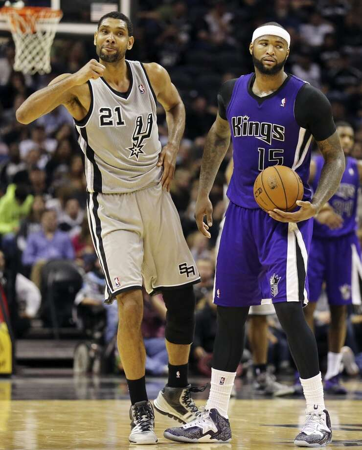 San Antonio Spurs' Tim Duncan reacts after Sacramento Kings' DeMarcus Cousins was called for a backcourt violation during second half action Sunday Dec. 29, 2013 at the AT&T Center. The Spurs won 112-104. Photo: Edward A. Ornelas, San Antonio Express-News