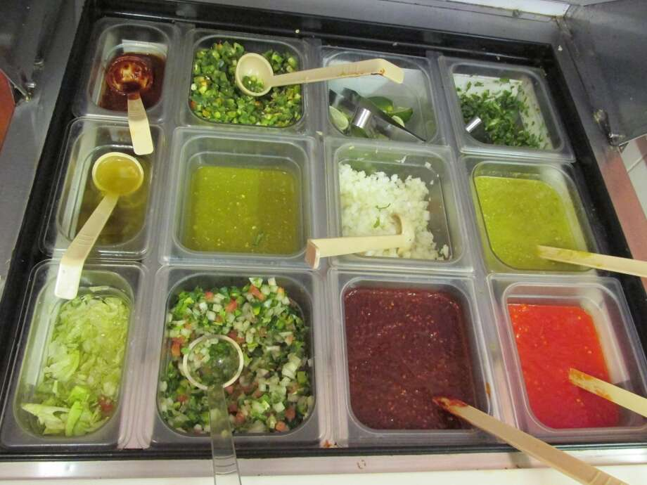 The fresh salsa bar at El Paraiso. Photo: Cat5