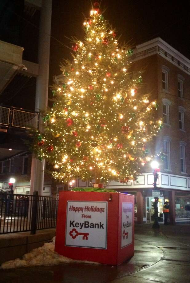 A beautifully decorated holiday tree, donated by Key Bank, provides some elegance and cheer in downtown Schenectady.