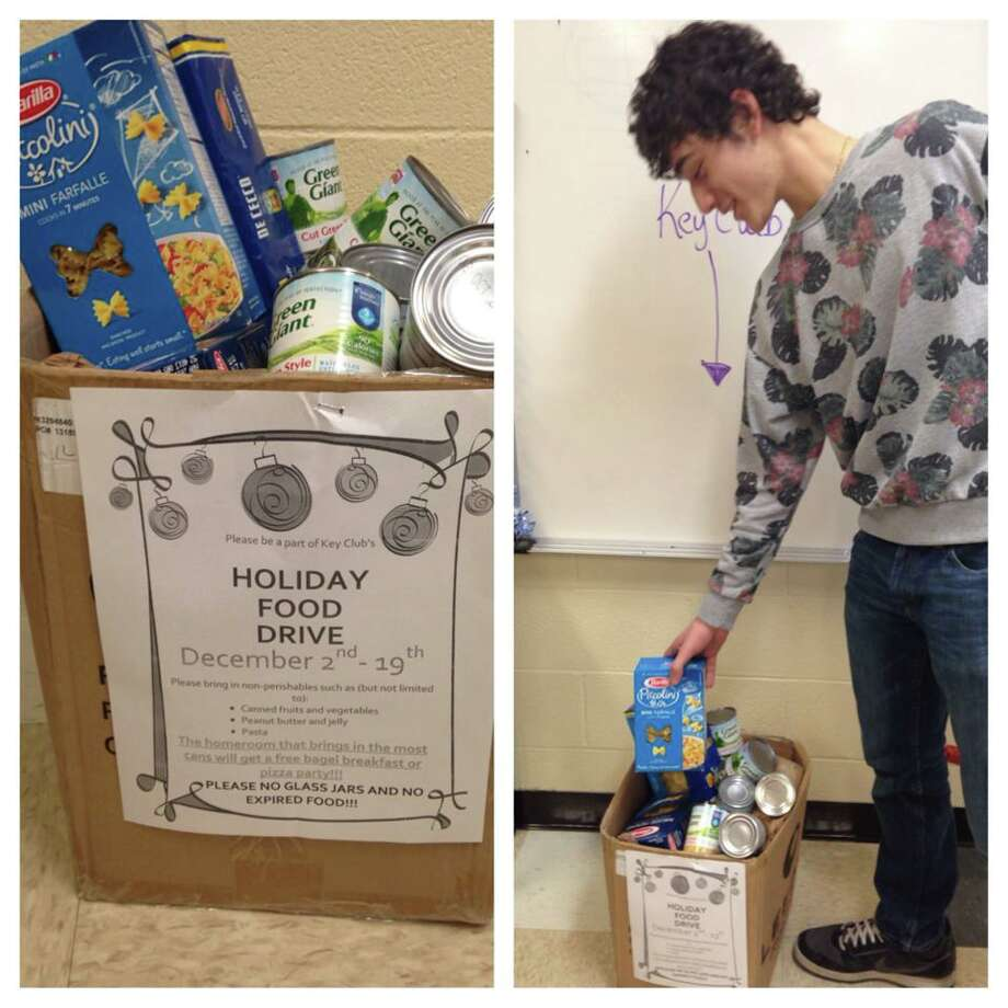 Alex Chiaravalle participated in Schalmont's holiday food drive. Photo: Rachel Bahor