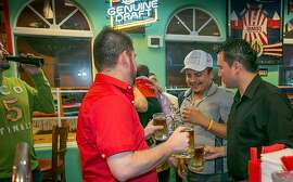 """""""La Bomba"""" drinks about to be chugged at Fernando's in San Mateo, Calif., is seen on October 23rd, 2013."""