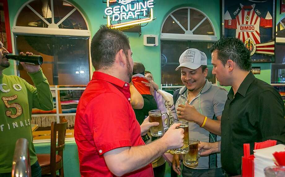 La Bomba drinks are about to be chugged at Fernando's in San Mateo. Photo: John Storey, Special To The Chronicle