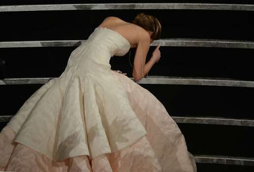 Feb. 24: With the world's most charming trip on her way to the Academy Awards stage, Jennifer Lawrence launches the Year of JLaw, peppered with her offbeat and goofy interview quirks and cemented by her GIFable-ness. BuzzFeed writers must dedicate special folders to her awkward GIFs. The Internet rejoices. Photo: Robyn Beck, AFP/Getty Images