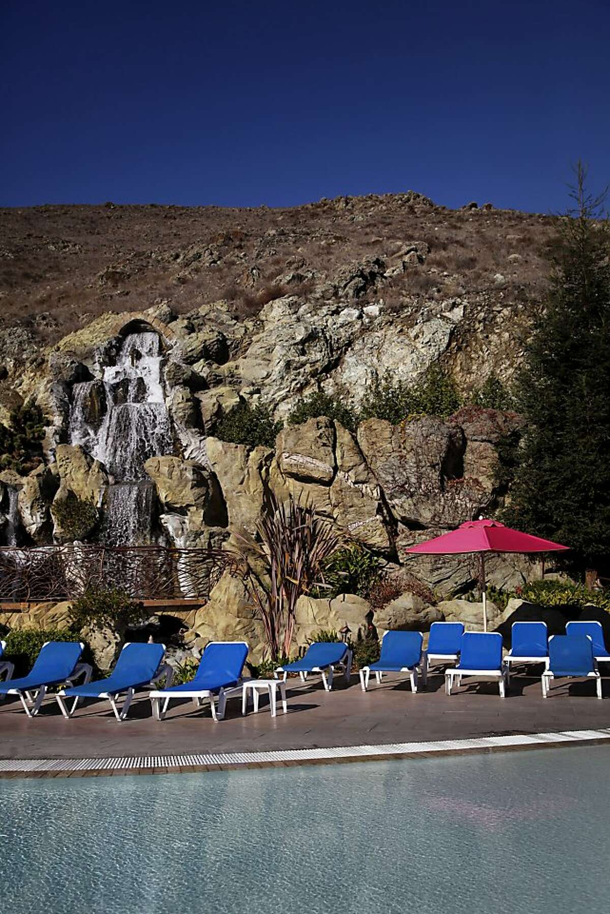 The heated pool and spa area at the Madonna Inn in San Luis Obispo, Calif. on Friday, December 20, 2013.