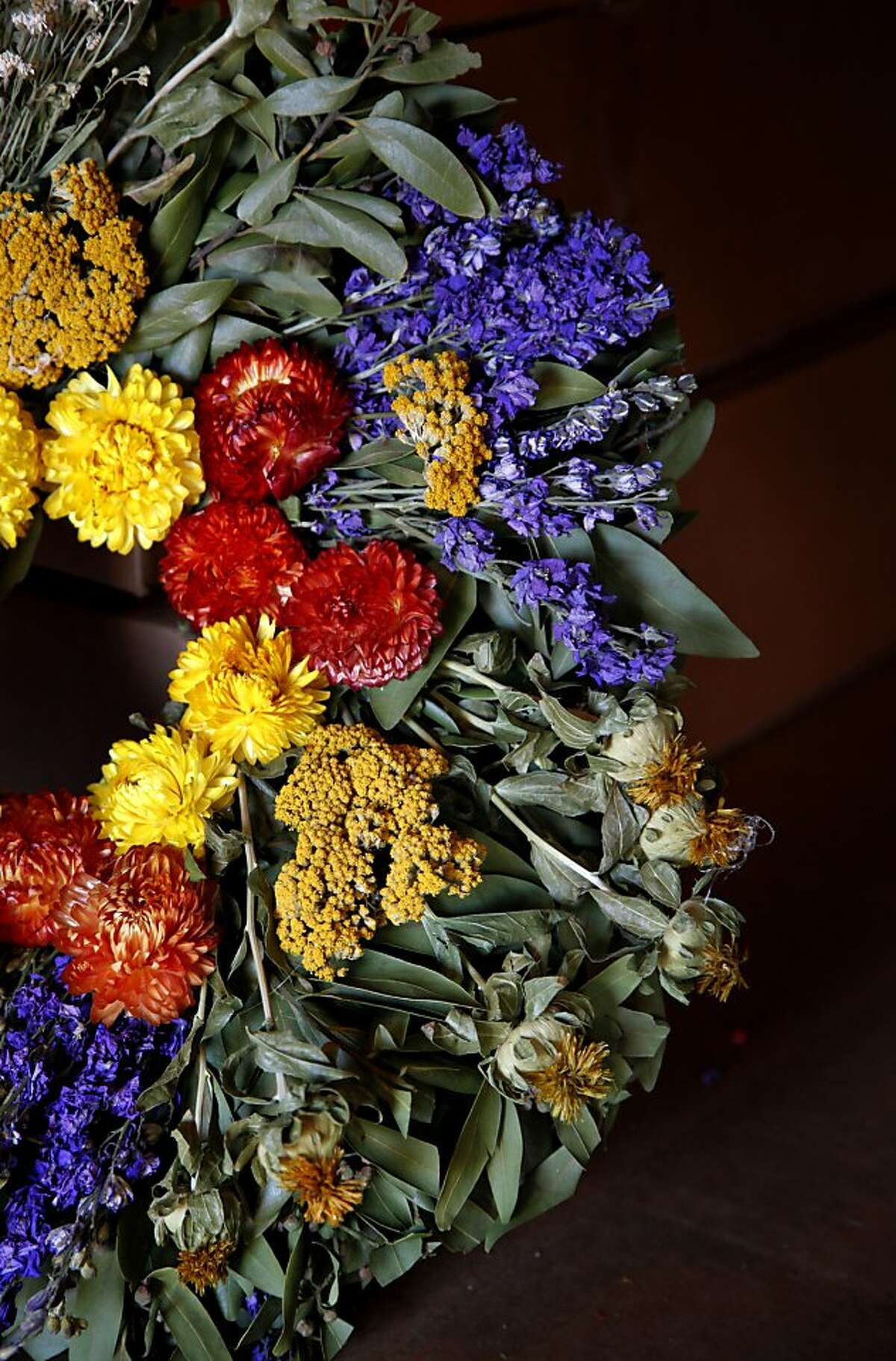 The Tuscan wreath, among items available at Bassetti Vineyards, is made of bay leaves, dried flowers.