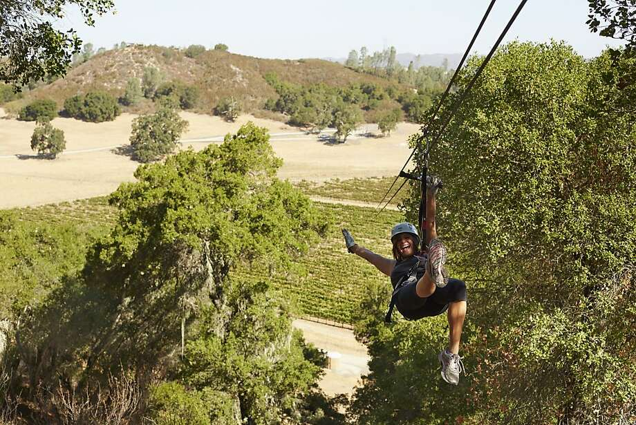 The Pinot Express is the newest of five zip lines that offer views over Margarita Ranch in Paso Robles wine country. Photo: Chris Leschinsky