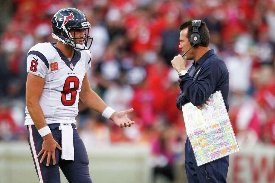 Quarterback Matt Schaub (8) can expect to join the recently fired Gary Kubiak as a former Texans employee. Photo: Brett Coomer, Staff / © 2013  Houston Chronicle