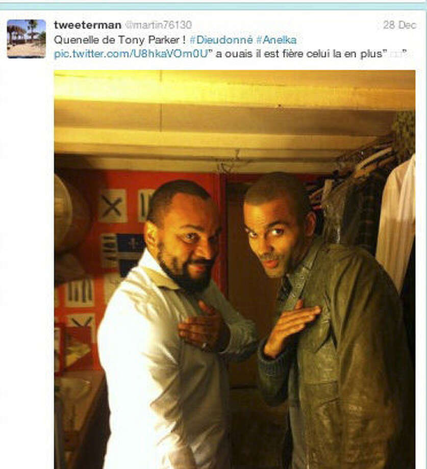 """A screen grab from a Twitter page shows Spurs guard Tony Parker making a """"quenelle."""" Photo: Twitter Screen Grab / twitter"""