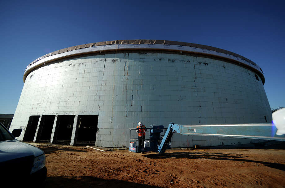 """The new FEMA Dome/Performing Arts Center is standing on its own Tuesday afternoon. The 26,547-square-foot, disaster-resistant, steel-reinforced concrete dome sits between Lumberton ISDé¢Ã©""""é´s high school and intermediate school. The Performing Arts Community Center and FEMA Dome is being built by American Business Continuity Domes, Inc. and Daniels Construction will design and finish the interior. The project is projected to be completed in a year. Photo taken Jake Daniels/@JakeD_in_SETX Photo: Jake Daniels / ©2013 The Beaumont Enterprise/Jake Daniels"""