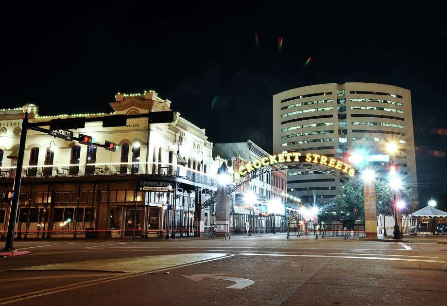 A thirty second exposure of the Crockett Street entertainment district in downtown Beaumont on December 5, 2012. Photo taken: Randy Edwards/The Enterprise