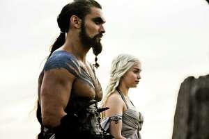 image from HBO series Game of Thrones, pictured Jason Momoa as Khal Drago and Emilia Clarke as Daenerys Targaryen. photo: Helen Sloan
