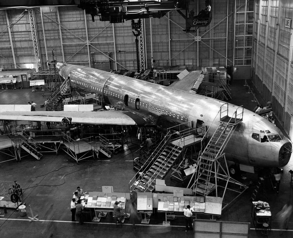 circa 1958: The Boeing 707 Jet Stratoliner Number One under construction at Boeing's Transport Division in Renton, Washington.