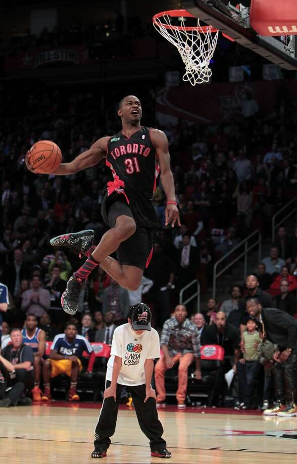 Terrence Ross of the Toronto Raptors competes in the NBA All-Star Slam Dunk Contest at the Toyota Center on All-Star Saturday Night, Saturday, Feb. 16, 2013, in Houston. Photo: James Nielsen, Houston Chronicle