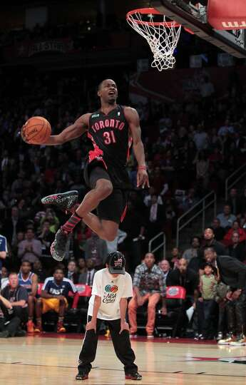 Terrence Ross of the Toronto Raptors competes in the NBA All-Star Slam Dunk Contest at the Toyota Ce