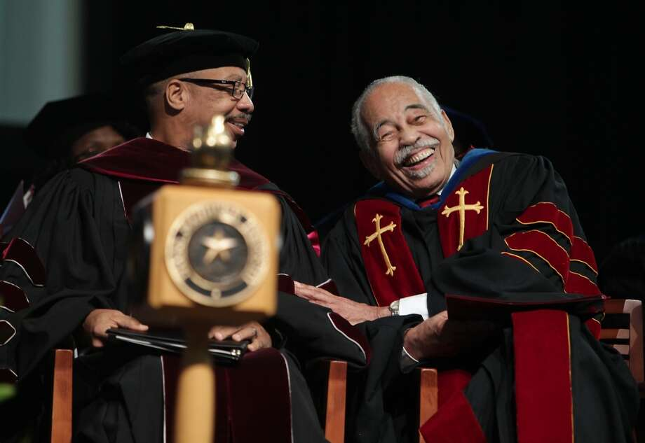 Texas Southern University President John M. Rudley, PhD. left, and Thomas F.  Freeman Ph.D during Texas Southern University Founders Day celebration honoring debate coach Thomas F. Freeman for 69 years of service Friday, Sept. 13, 2013, in Houston. Freeman founded the university's acclaimed debate team. Photo: James Nielsen, Houston Chronicle