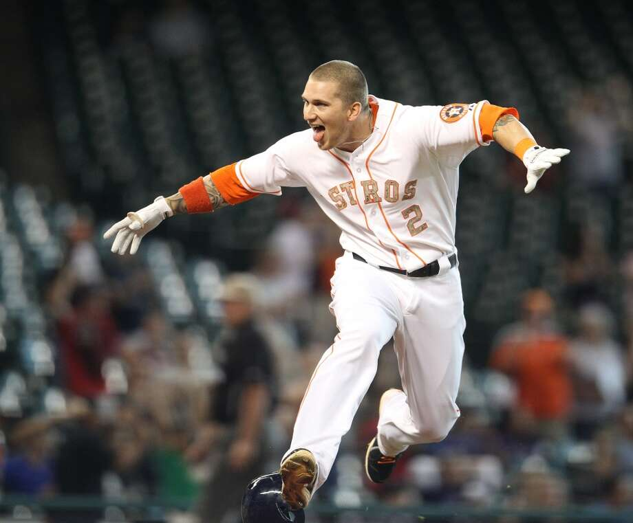 Houston Astros right fielder Brandon Barnes (2) reacts after he hit a ground rule double as he bats in the winning run for the win during the 12th inning of an MLB game at Minute Maid Park, Monday, May 27, 2013, in Houston. Photo: Houston Chronicle