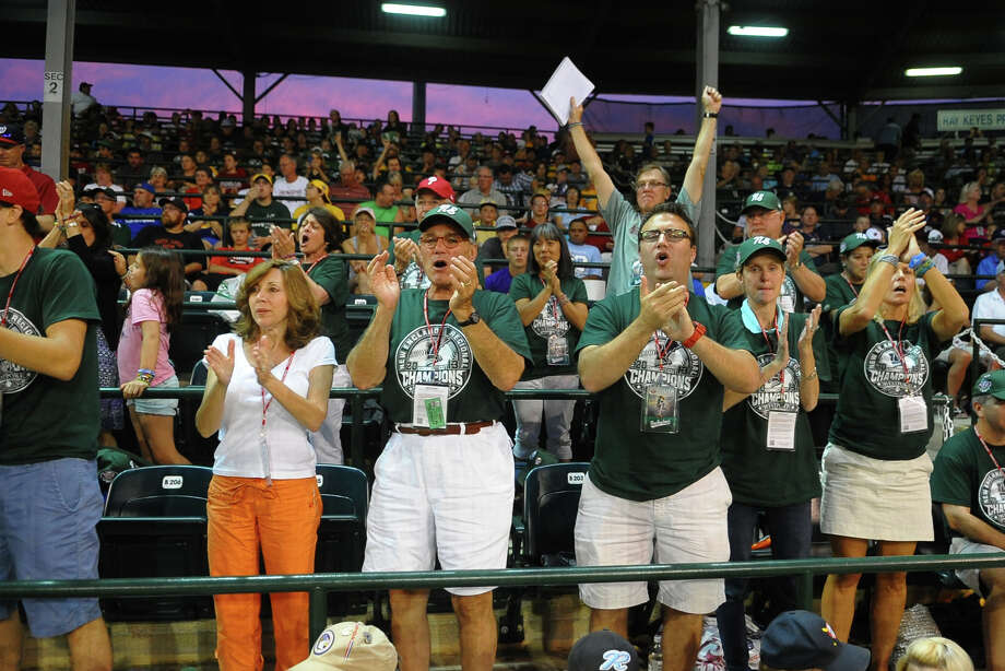 Westport parents and other family cheer as the team goes onto the field to play against Chula Vista, Calif. during the Little League World Series in Williamsport, Pa. on Wednesday August 21, 2013. Photo: Christian Abraham / Connecticut Post contributed
