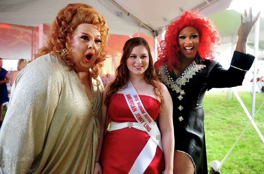 Kat Bowden, of Glastonbury, winner of the Jenny Lind competition, takes a picture with Sweetie, left, and Peppermint, during the Ringmaster's Ball Saturday, June 22, 2013 at Seaside Park in Bridgeport, Conn. Photo: Autumn Driscoll / Connecticut Post