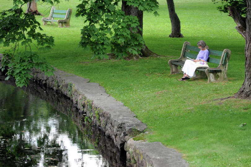 Alice Phass, of Milford, reads on a park bench next to the duck pond, in Milford, Conn., June 26th,