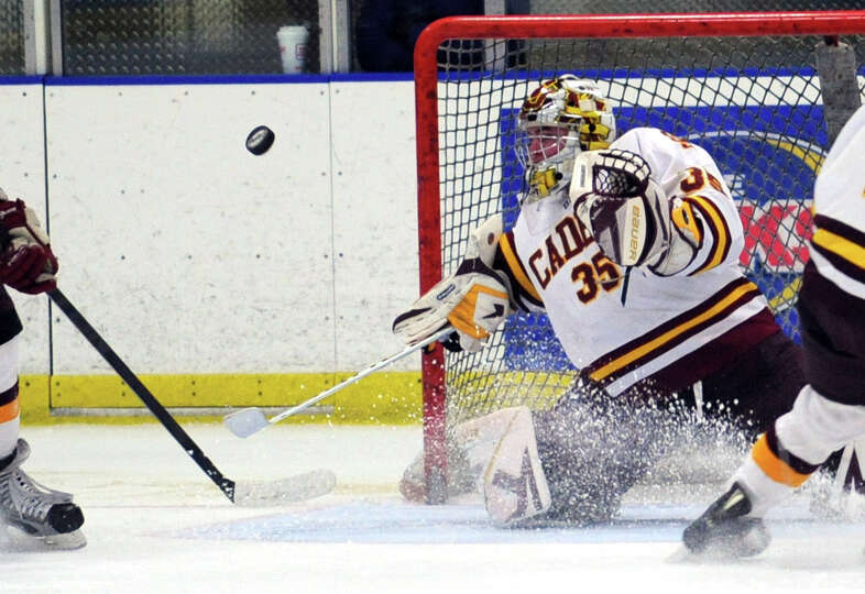 St. Joseph's Marc Van Etten deflects the puck during the boys hockey Division I playoff against New
