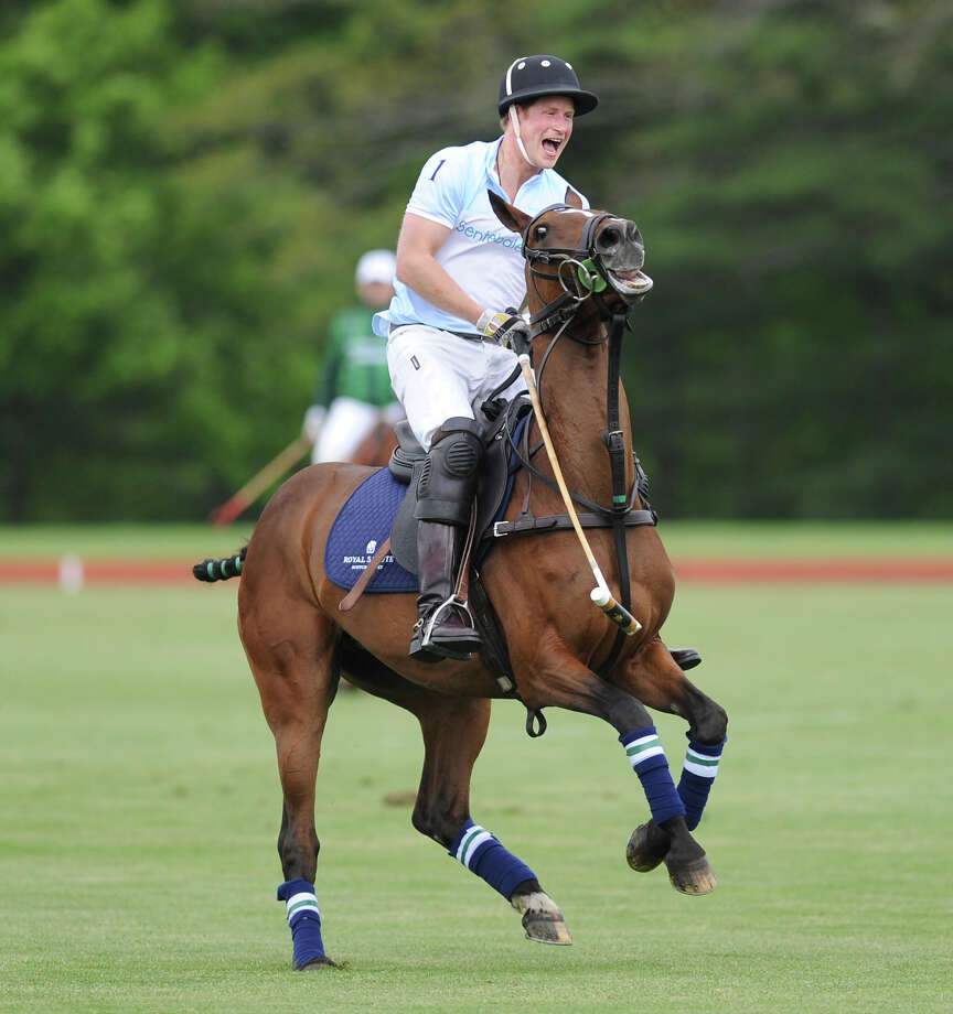 Prince Harry during the Sentebale Royal Salute Polo Cup match at the Greenwich Polo Club, Wednesday, May 15, 2013. The Prince's team defeated St. regis, 4-3. The polo match was played to raise funds for Sentebale, a charity Prince Harry co-founded in 2006 in memory of his late mother, Princess Diana. Photo: Bob Luckey / Greenwich Time