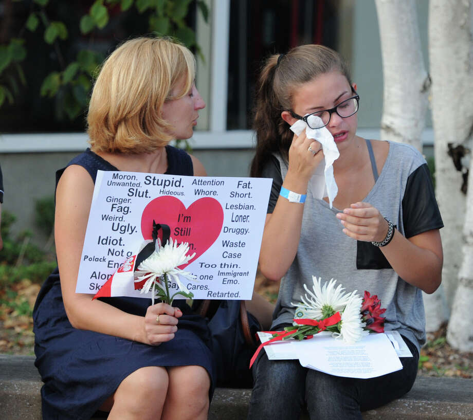 Vigil Prayer Service for Bart Palosz at Greenwich High School, Tuesday night, Sept. 10, 2013. Palosz committed suicide after attending the first day of classes as a sophomore at Greenwich High school. The Palosz family says the suicide is the result of school bullying over a period of years. Photo: Bob Luckey / Greenwich Time