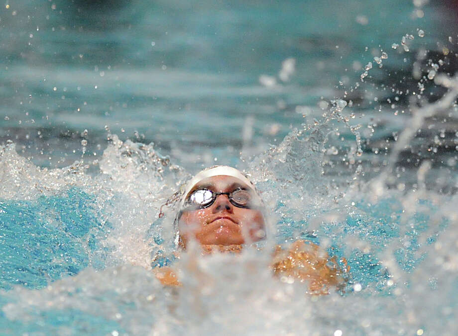 Andrew Stotesbery of Greenwich competes in the 200 IM event during the Class LL boys swimming championship at Wesleyan University, Middletown, Conn., Tuesday, March 12, 2013. Photo: Bob Luckey / Greenwich Time