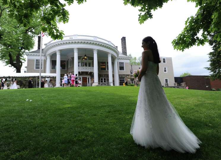 Elizabeth Wiener, 18, a Greenwich Academy graduating senior, before the commencement ceremony at the