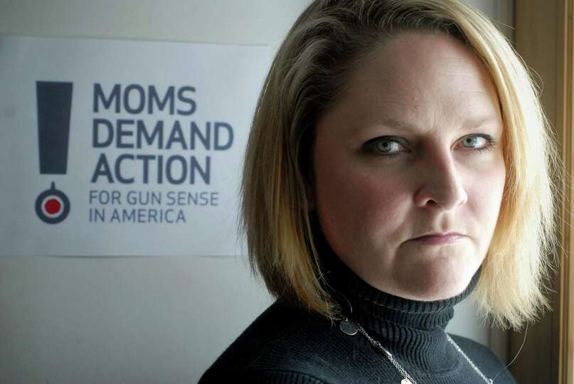 Kara Nelson Baekey who works with Moms Demand Action for Gun Sense in American at home in Norwalk, C