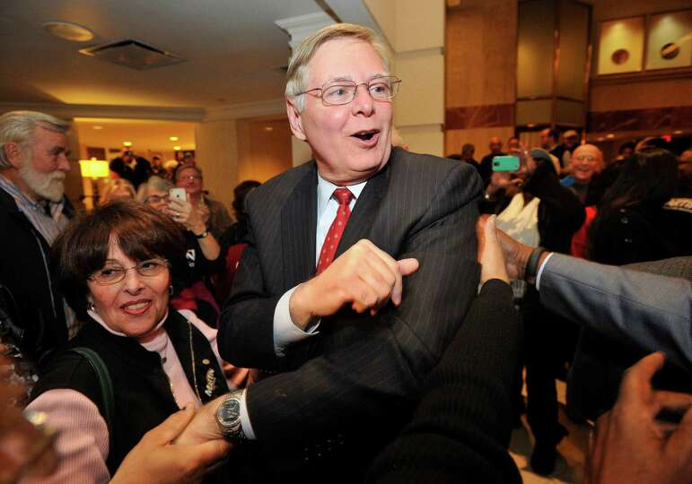 Mayor-elect David Martin is congratulated by his supporters during election night at the Democratic