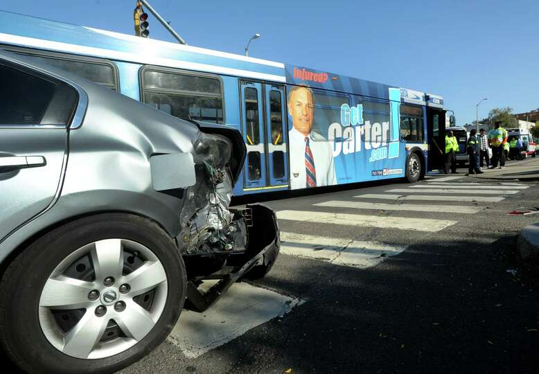 A gray Nissan collided with a Greater Bridgeport Transit District Coastal Link bus at Park Avenue an