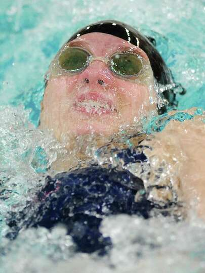 New Fairfield's Sofia Licht competes in the backstroke at the SWC girls swimming and diving meet bet