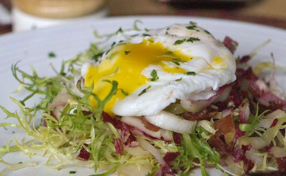 warm-frisee-salad-with-bacon-and-poached-egg/onegirlcatering.com