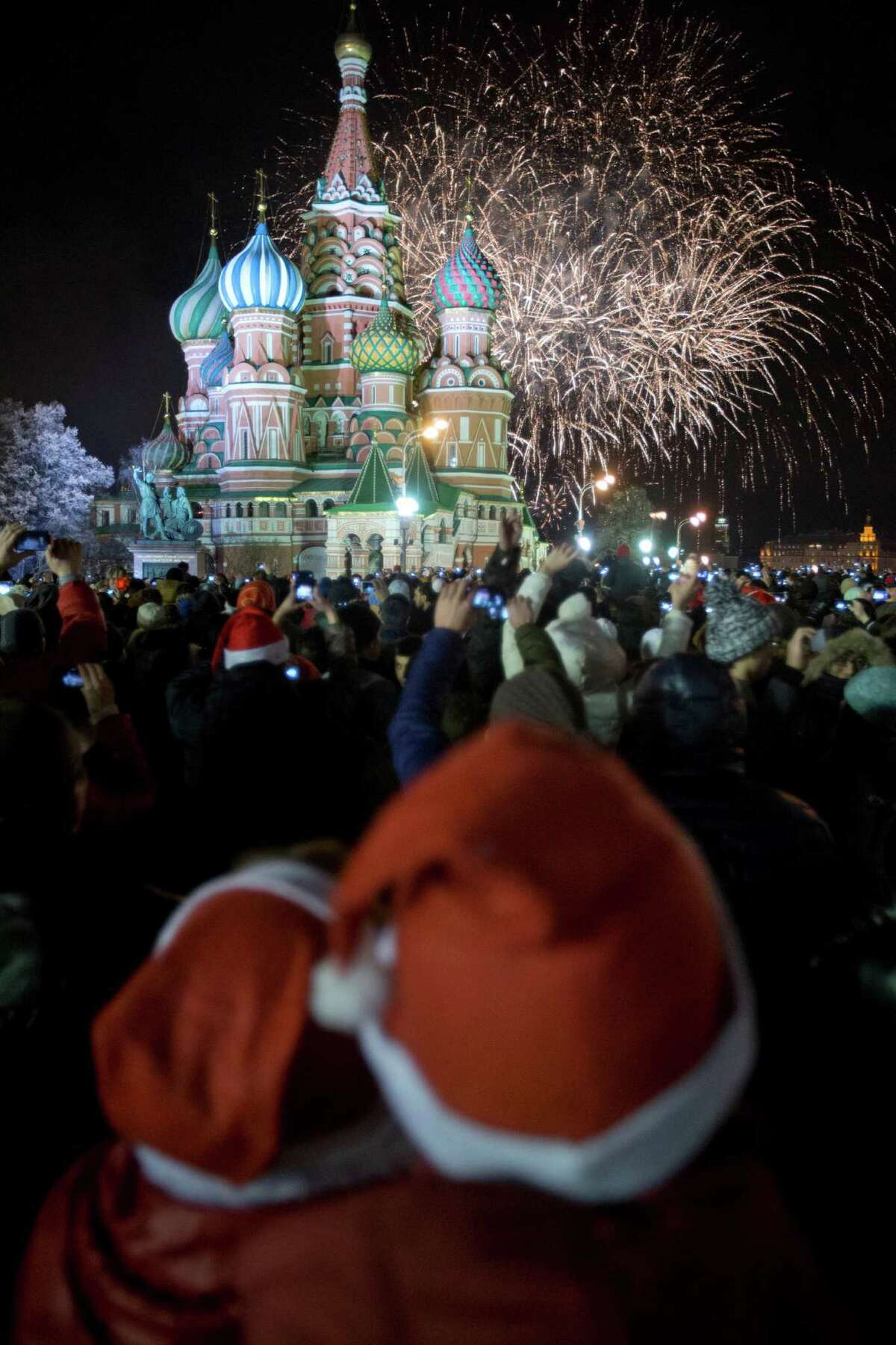 """Russia After midnight, Russians flood the streets for concerts, fireworks, and parties, with Moscow's Red Square at the center of attention. This is the first of two annual New Year's celebrations. Based on the Orthodox calendar, the more family-oriented """"Old"""" New York festivities are on January 14."""