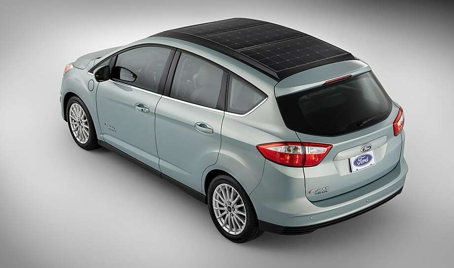 The Ford C-MAX Solar Energi concept car has rooftop solar cells supplied by San Jose's SunPower Corp. The concept car has a 'solar charge mode' which slowly moves the parked car to match the sun's movement. Photo: Ford Motor