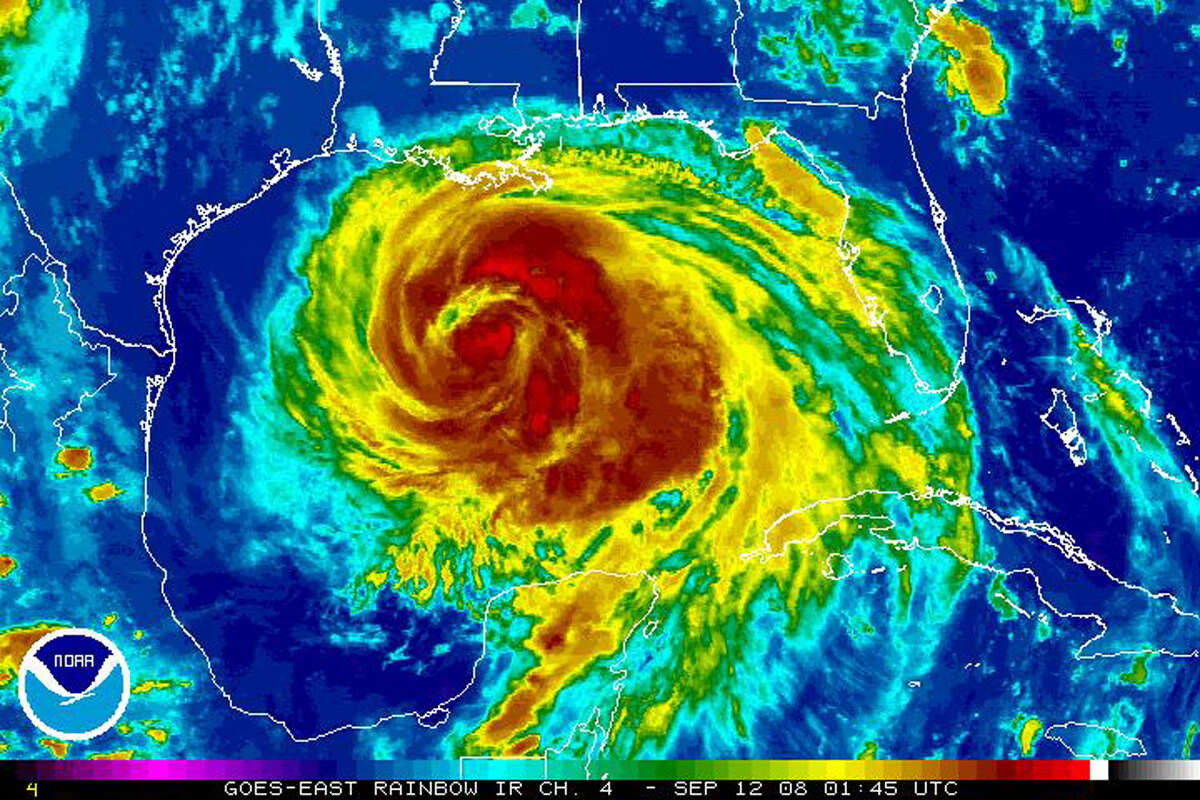 This satellite image released by NOAA shows Hurricane Ike at 9:30pm EDT on Sept. 11, 2008. (AP Photo/NOAA)